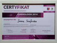 Dr Iwona Szaferska certyfikat